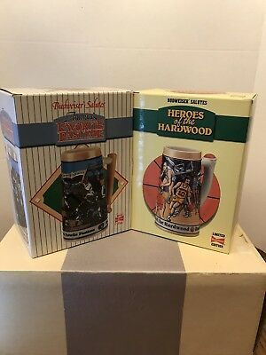 Budweiser Heroes Of The Hardwood Stein and America's Favorite Pastime (2) Steins