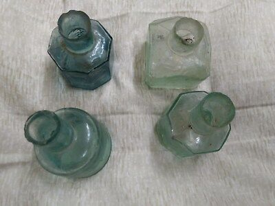 4 Vintage Very Old Ink Bottles 2 8 sided 1 round 1 square and beveled