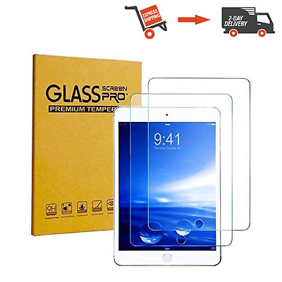 NEW 2 Pack KIQ Tempered Glass Screen Protector Apple iPad 9.7 2017 Anti-Scratch