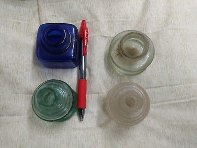4 Vintage Very Old Ink Bottles Nice Blue One