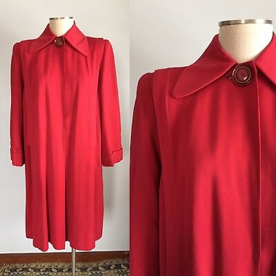 Vintage 1940s 40s Cherry Red Wool Gabardine Long Jacket