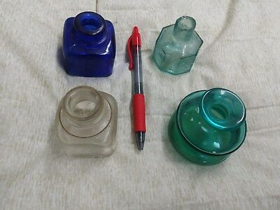 4 Vintage Very Old Ink Bottles Nice Blue 1 1 8 Sided 1 Has Broken Top 1 French