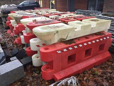 Water Filled Red And White Barriers.