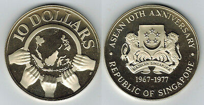 #16: 1977 SINGAPORE 10th ANNIVERSARY OF ASEAN $10 PROOF SILVER COIN ONLY