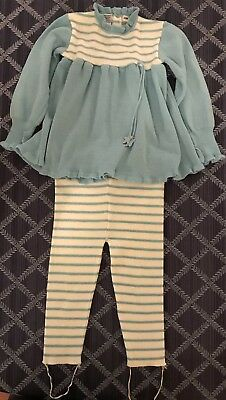 Vintage Friemanit Baby Girls 2 Piece Acrylic Outfit Size 24M Blue White Stripes