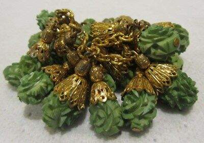 Vintage Art Deco Brass Filigree Deep Carved Celluloid Dangle Chunky Necklace~NR!