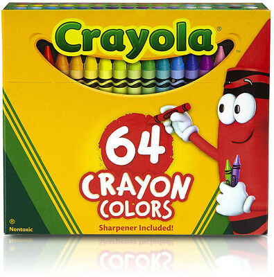 Crayon Box with Sharpener, 64 Colours, Gift, Colouring, Drawing, Christmas, Non