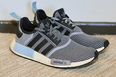 wholesale dealer d3831 66cc4 ADIDAS NMD R1 'Clear Blue' Gray White Blue Mesh Knit Running Shoes Sz 9  S79159