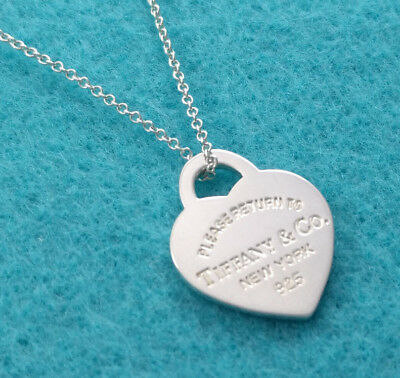 """Tiffany & Co. """"Please Return To"""" Heart Charm Necklace Pendant, Sterling Silver"""