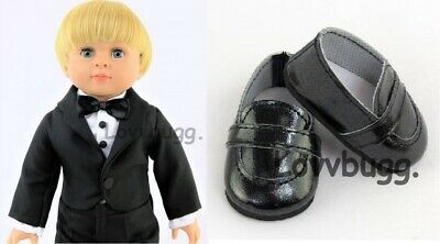"""Black Tuxedo Suit Full Set w Shoes for American Girl Boy Logan 18"""" Doll Clothes"""