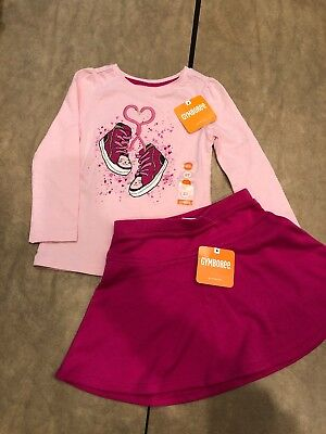 NWT Gymboree baby Girl Sneakers Heart Kitty Pink Skirt WINTER 2-piece SET 2 2T