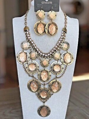 NWT CHICO'S Marcela Chunky Etched Gold & Acrylic Bib Necklace Earrings SET $108