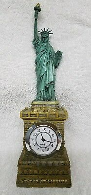 Statue of Liberty Replica Clock 10 Inches Tall Cast Resin Detailed New in Box!