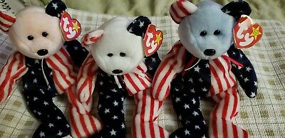 Ty beanie babies spangle set of 3 in red(pink), white and blue
