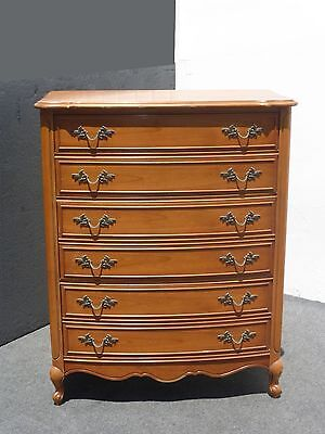 Vintage French Provincial Tall Boy Dresser w Brass Hardware by Dixie