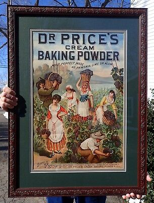 1880's Dr. Vincent Price Baking Powder advertising sign poster store lithograph