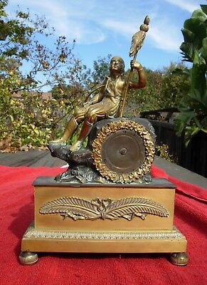 Antique BRONZE FRENCH France Pirate with sword Clock gilt gold mantle ORANTE