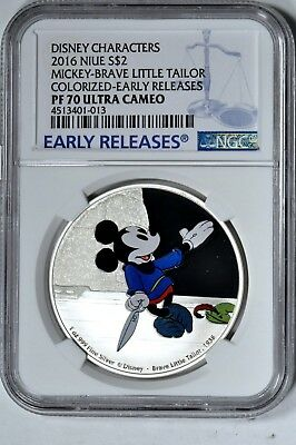 2016 Niue $2 1 oz Proof Silver Disney Mickey Brave Little Tailor In OGP SKU42780