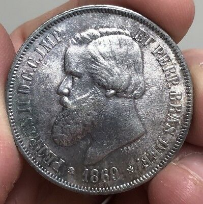 1869 Brazil 2000 Reis; Excellent Grade, Very Difficult To Find