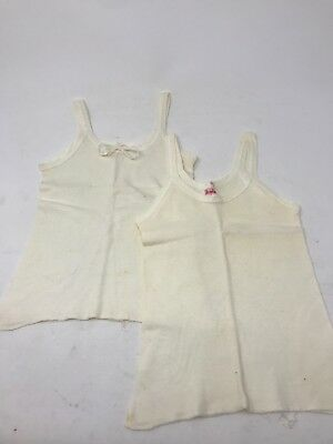 Lot of 2 Vintage 1940s 1950s Denton Girls undershirt tank underwear size 4
