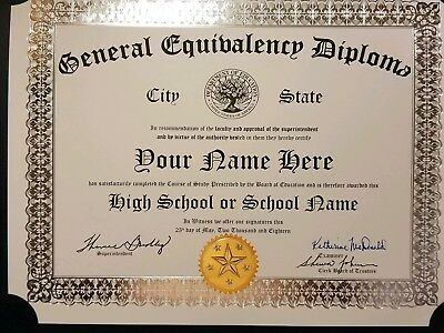 GED Equivalency Diploma w GOLD SEAL - NEWEST For 2018 GAG Gift Looks So Real