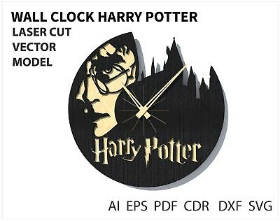 FILE DXF CDR EPS AI SVG for Laser Cut or CNC ROUTER Wall clock Harry Potter