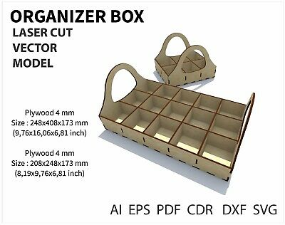FILE DXF CDR EPS AI SVG for Laser Cut or CNC ROUTER ORGANIZER BOX