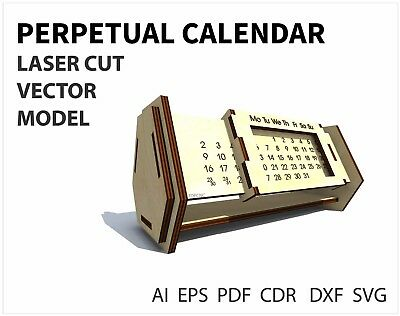 FILE DXF CDR EPS AI SVG for Laser Cut or CNC ROUTER Perpetual calend VECTOR FILE