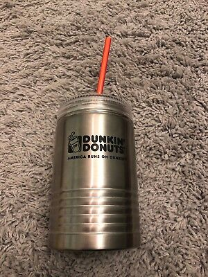 Dunkin' Donuts Stainless Steel Mason Jar/Travel Cup/Mug with Lid New 18oz
