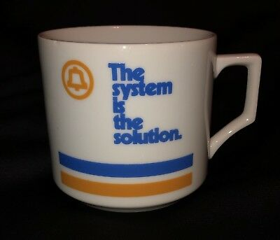 "VINTAGE Bell System AT&T Coffee Mug Cup ""The system is the solution."" Blue Gold"