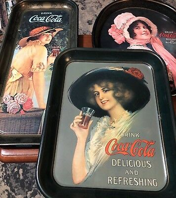 Lot Of 3 Coca Cola Serving Trays Metal Sign Vintage Coke Sign Early 70'S