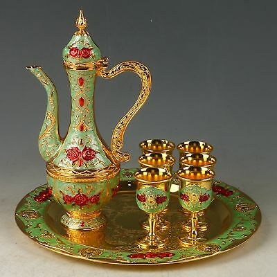 A Set Exquisite Cloisonne Handwork Carved Flower Flagon & Cups & Plate RZ2010+a