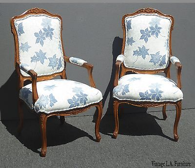 Pair French Country Style Accent Chairs Carved Wood Light Blue Floral Fabric