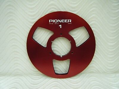 """Red Pioneer PR-100 NAB Anodized Aluminum 10.5"""" Metal Reel for 1/4"""" tape USA MADE"""