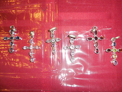 925 Sterling Silver  lot of five cross pendants