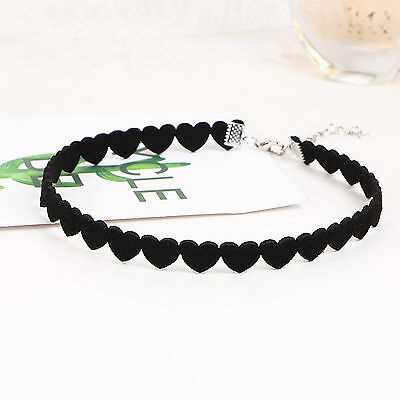 Girl heart Lace Up Gothic Punk Choker Vintage Velvet Leather Necklace Jewelry