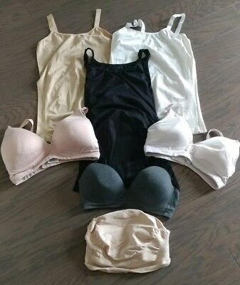 Lot of 7 Maternity Tank Tops Nursing Bras and Belly Band Size Large/XLarge