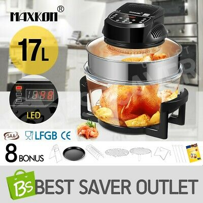 17L Halogen Convection Turbo Oven Cooker Electric Air Fryer 3Hr-Timer LED Screen