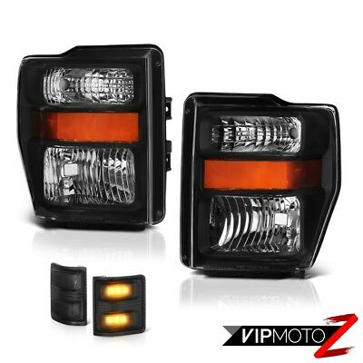 BLACK 2008-2010 Ford F250 F350 SD Factory Style Headlights LED SMD Signal Lamps