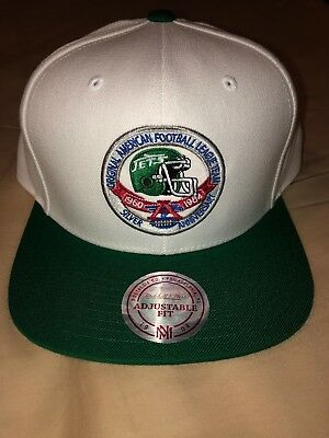 f957ea78bf3 New York Jets Mitchell and Ness AFL Silver Anniversary Logo Snap Back Hat  Rare