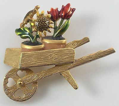 Vintage Gold Wooden Wheelbarrow Garden Gardening Flower Pot Enamel Flowers Pin