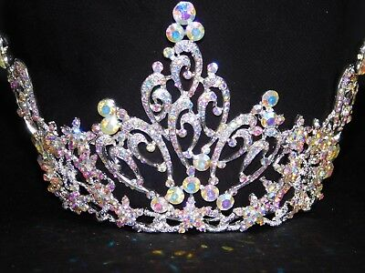 Bridal Pageant Silver Iridescent Rhinestone Crystal Queen Tiara Full round Crown