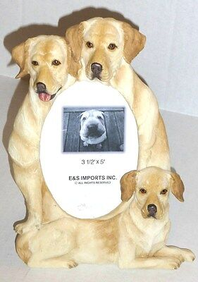 """Yellow Labrador  8 1/2"""" x 6"""" Handpainted Resin Frame Holds 3 1/2""""x 5"""" Photo"""