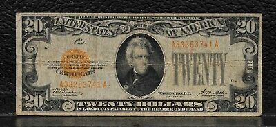 1928 US $20 Gold Certificate Note