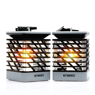 2x Waterproof Outdoor Solar Lantern Hanging Lights LED Candle Patio Garden Lamps