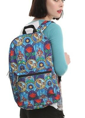 Disney Beauty & The Beast Stained Glass Backpack School Book Bag Camp