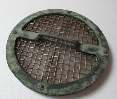 "Vintage Antique Maritime Ship Bronze Screen Hatch Drain Cover Handle 9"" Round"