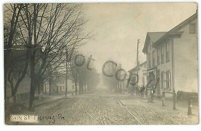 RPPC Main Street FLEMING PA Center County Pennsylvania Real Photo Postcard