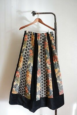 Vintage 1970s Floral Quilted Cotton Velvet Lace Full Maxi Skirt Boho Hippie