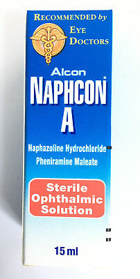 1 Pack Alcon Naphcon A Eye Drops Allergy Itchy Redness Relief 15 mL Exp 2022